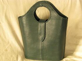Gundara - Shopper - dunked-grün - Echtleder - Made in Afghanistan - fairer Handel