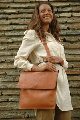 Lorenzo flat laptop leather bag - Gundara