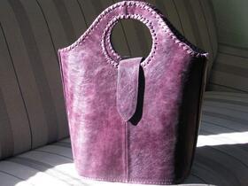 Shopper Violetta - Leder-Einkaufstasche in lila - Gundara - Echtleder