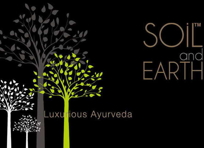 luxurious ayurveda products with soil and earth